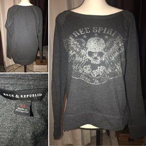 Rock and Republic Patterned Gray light Sweatshirt